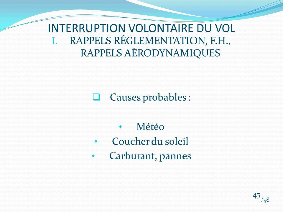 I. RAPPELS RÉGLEMENTATION, F.H., RAPPELS AÉRODYNAMIQUES Causes probables : Météo Coucher du soleil Carburant, pannes /58 45 INTERRUPTION VOLONTAIRE DU