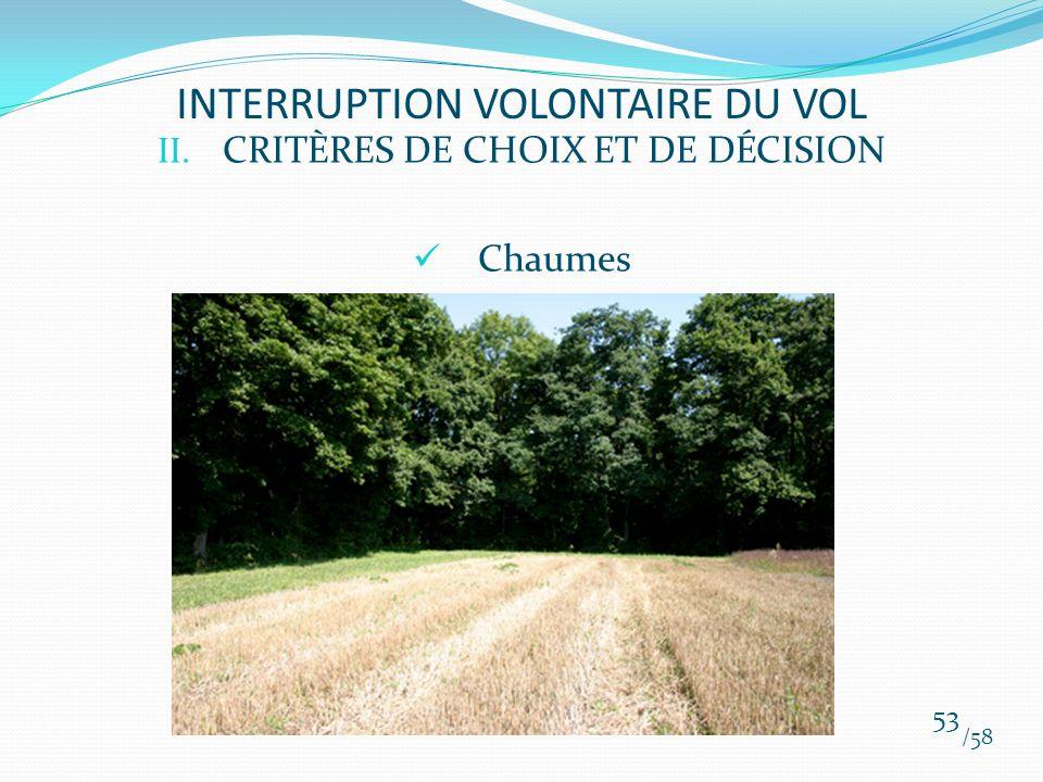 II. CRITÈRES DE CHOIX ET DE DÉCISION Chaumes /58 53 INTERRUPTION VOLONTAIRE DU VOL