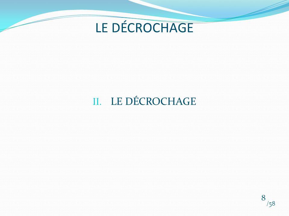 II. LE DÉCROCHAGE /58 8 LE DÉCROCHAGE