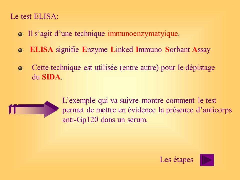 Le test ELISA: Il sagit dune technique immunoenzymatyique. ELISA signifie Enzyme Linked Immuno Sorbant Assay Cette technique est utilisée (entre autre