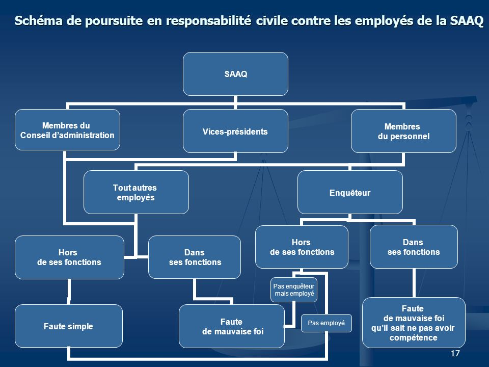17 Schéma de poursuite en responsabilité civile contre les employés de la SAAQ