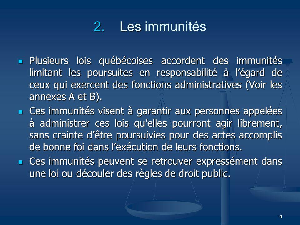 4 2. Les 2. Les immunités Plusieurs lois québécoises accordent des immunités limitant les poursuites en responsabilité à légard de ceux qui exercent d