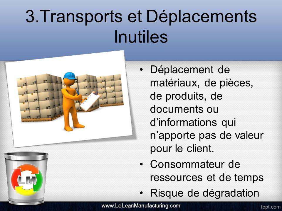 3.Transports et Déplacements Inutiles Déplacement de matériaux, de pièces, de produits, de documents ou dinformations qui napporte pas de valeur pour