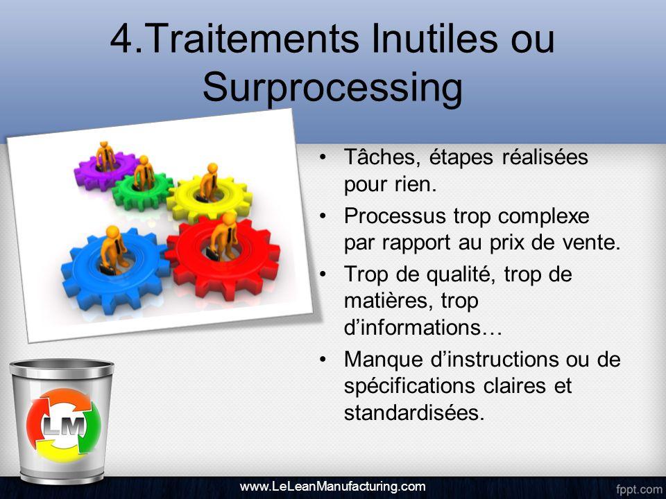 4.Traitements Inutiles ou Surprocessing Tâches, étapes réalisées pour rien. Processus trop complexe par rapport au prix de vente. Trop de qualité, tro