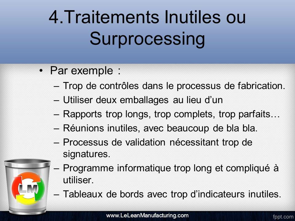 4.Traitements Inutiles ou Surprocessing Par exemple : –Trop de contrôles dans le processus de fabrication. –Utiliser deux emballages au lieu dun –Rapp