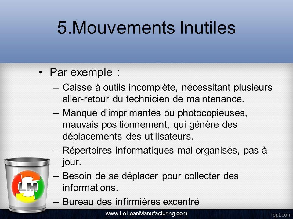 5.Mouvements Inutiles Par exemple : –Caisse à outils incomplète, nécessitant plusieurs aller-retour du technicien de maintenance. –Manque dimprimantes