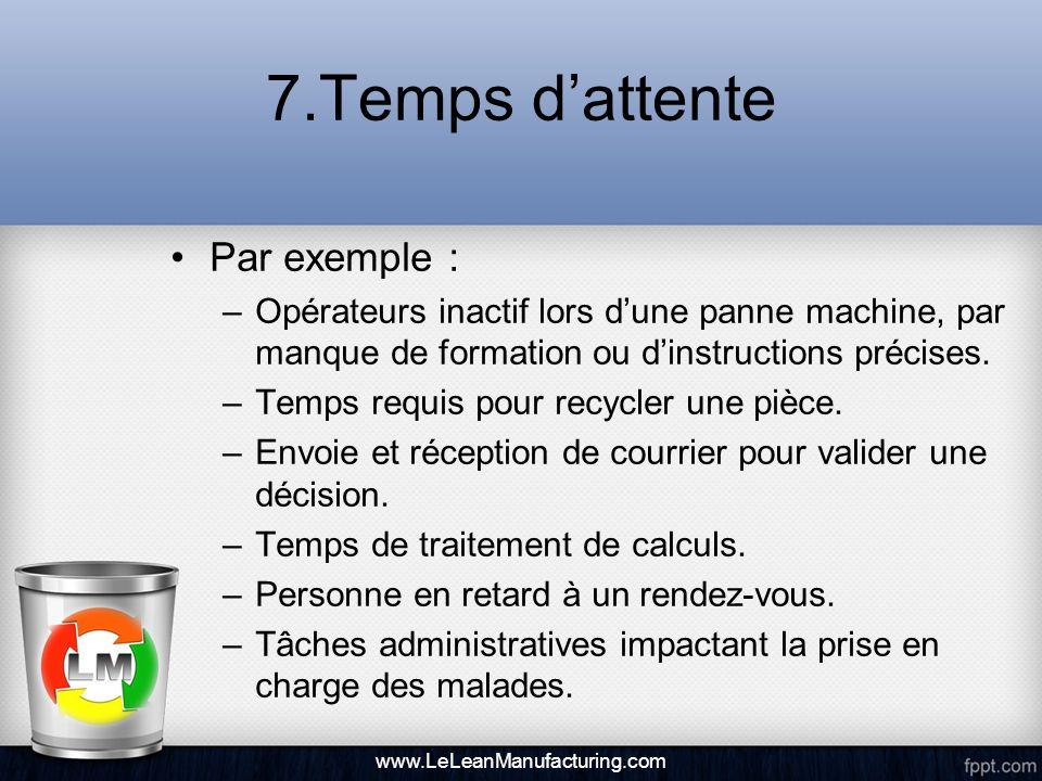 7.Temps dattente Par exemple : –Opérateurs inactif lors dune panne machine, par manque de formation ou dinstructions précises. –Temps requis pour recy