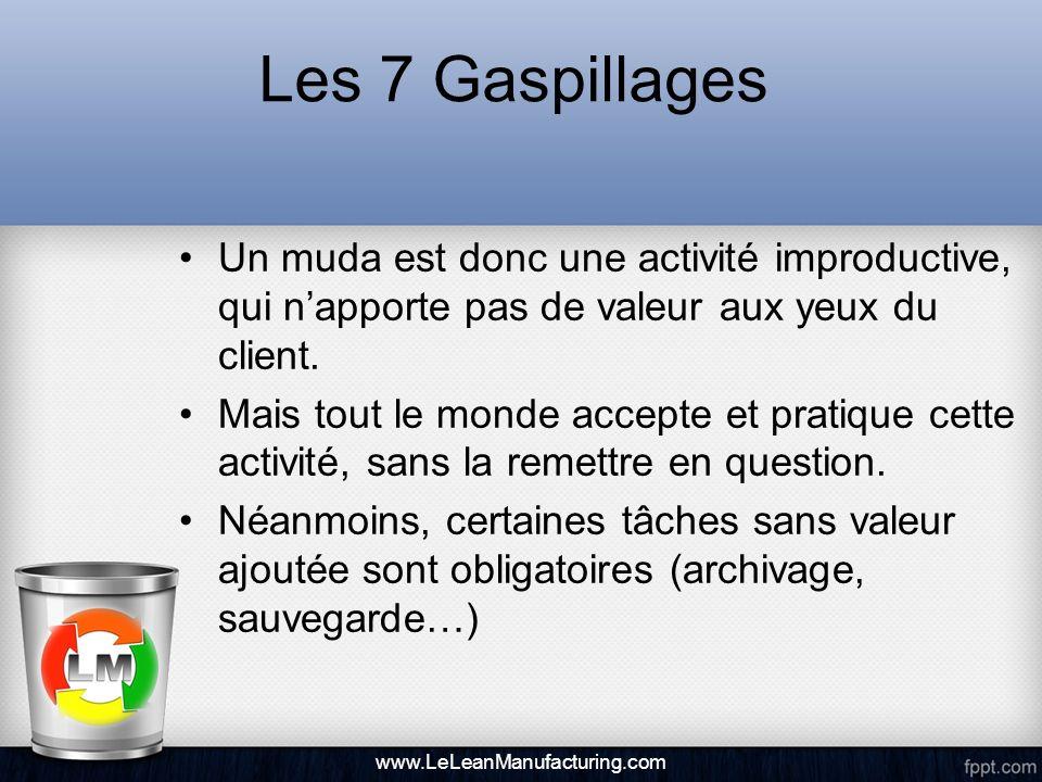 Les 7 Gaspillages La Pensée Lean suggère que pour créer efficacement de la valeur, il est indispensable didentifier les gaspillages et de les éliminer ou de les réduire, afin doptimiser les processus de lentreprise.