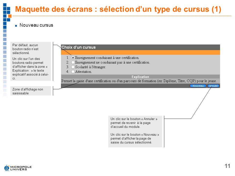 11 Maquette des écrans : sélection dun type de cursus (1) Par défaut, aucun bouton radio nest sélectionné. Un clic sur lun des boutons radio permet da