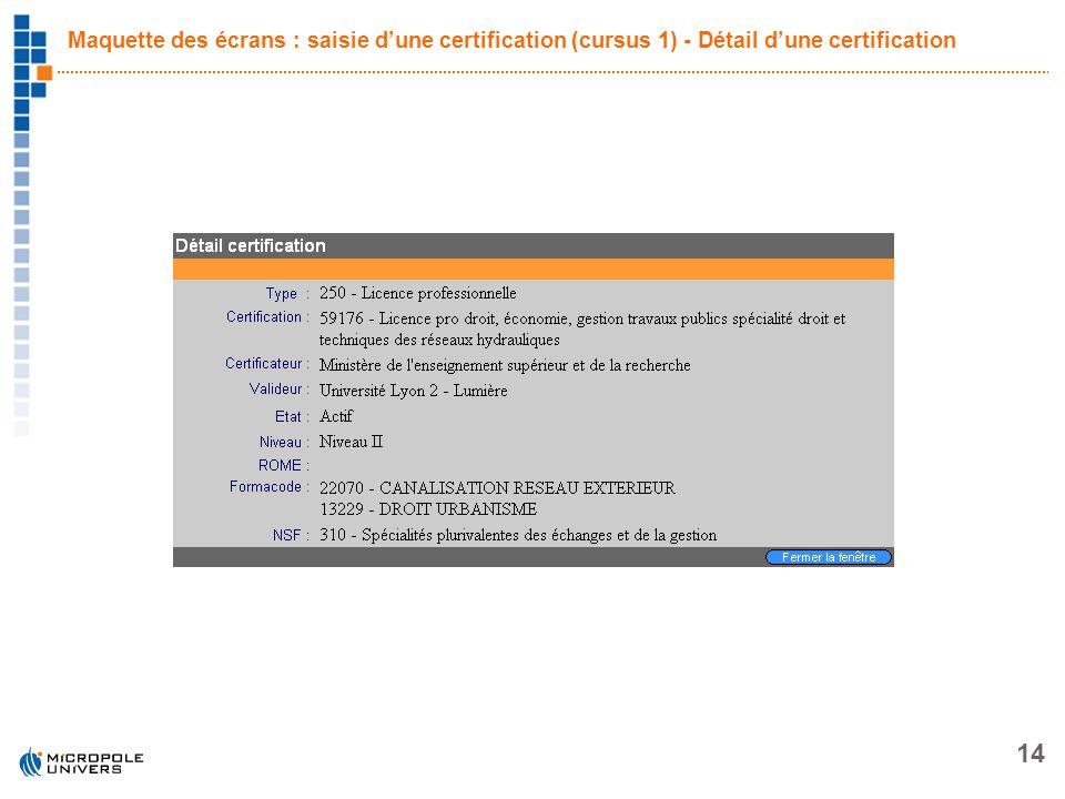14 Maquette des écrans : saisie dune certification (cursus 1) - Détail dune certification
