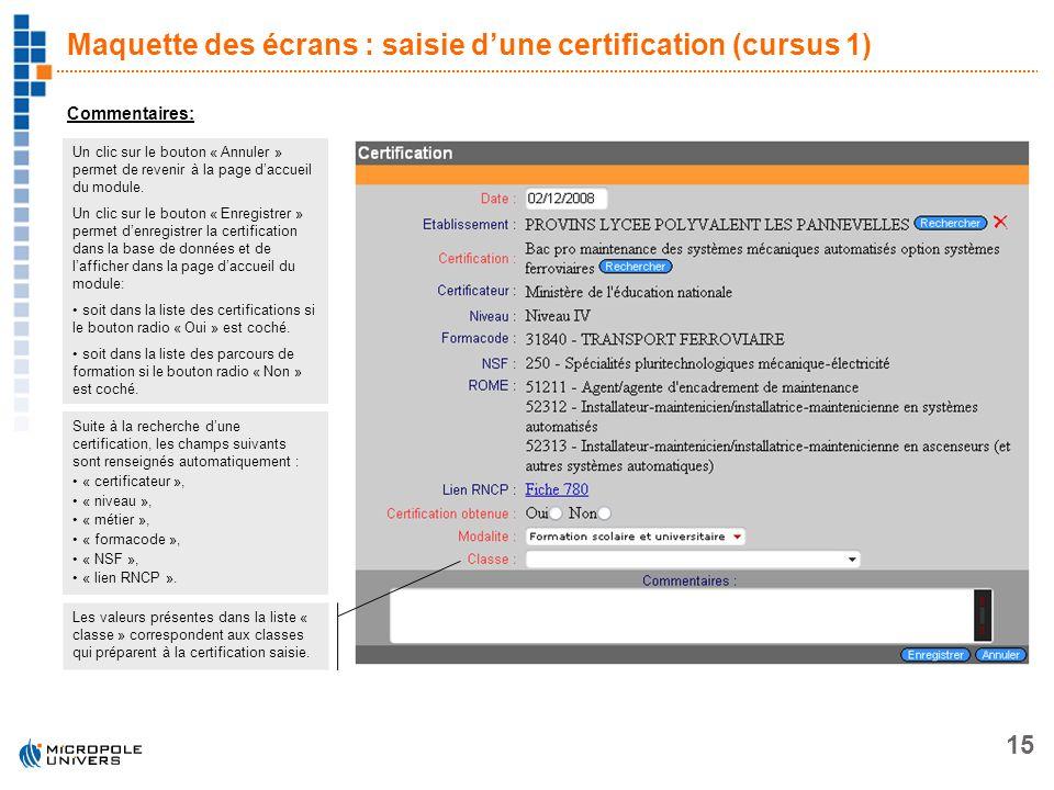 15 Maquette des écrans : saisie dune certification (cursus 1) Commentaires: Un clic sur le bouton « Annuler » permet de revenir à la page daccueil du