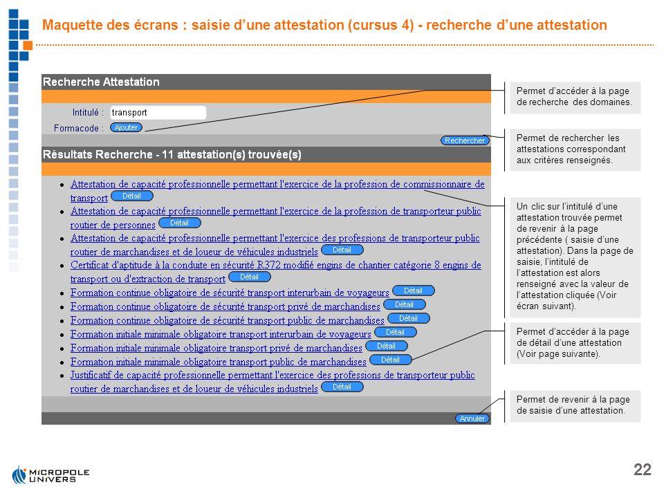 22 Maquette des écrans : saisie dune attestation (cursus 4) - recherche dune attestation Permet daccéder à la page de recherche des domaines. Permet d