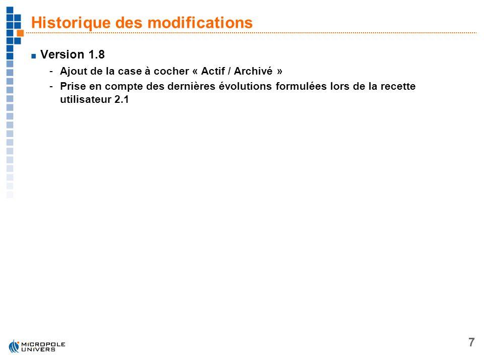 7 Historique des modifications Version 1.8 -Ajout de la case à cocher « Actif / Archivé » -Prise en compte des dernières évolutions formulées lors de