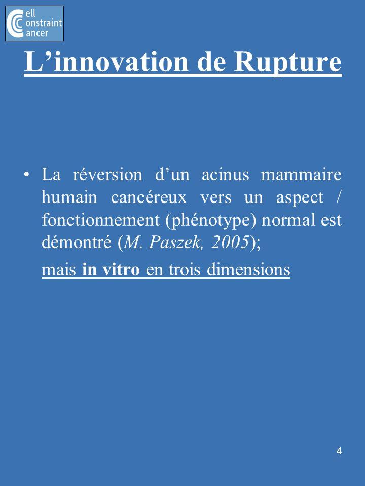 La réversion dun acinus mammaire humain cancéreux vers un aspect / fonctionnement (phénotype) normal est démontré (M. Paszek, 2005); mais in vitro en