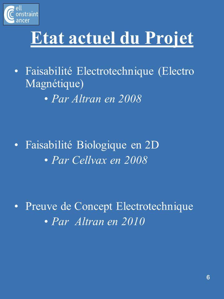 6 Etat actuel du Projet Faisabilité Electrotechnique (Electro Magnétique) Par Altran en 2008 Faisabilité Biologique en 2D Par Cellvax en 2008 Preuve d