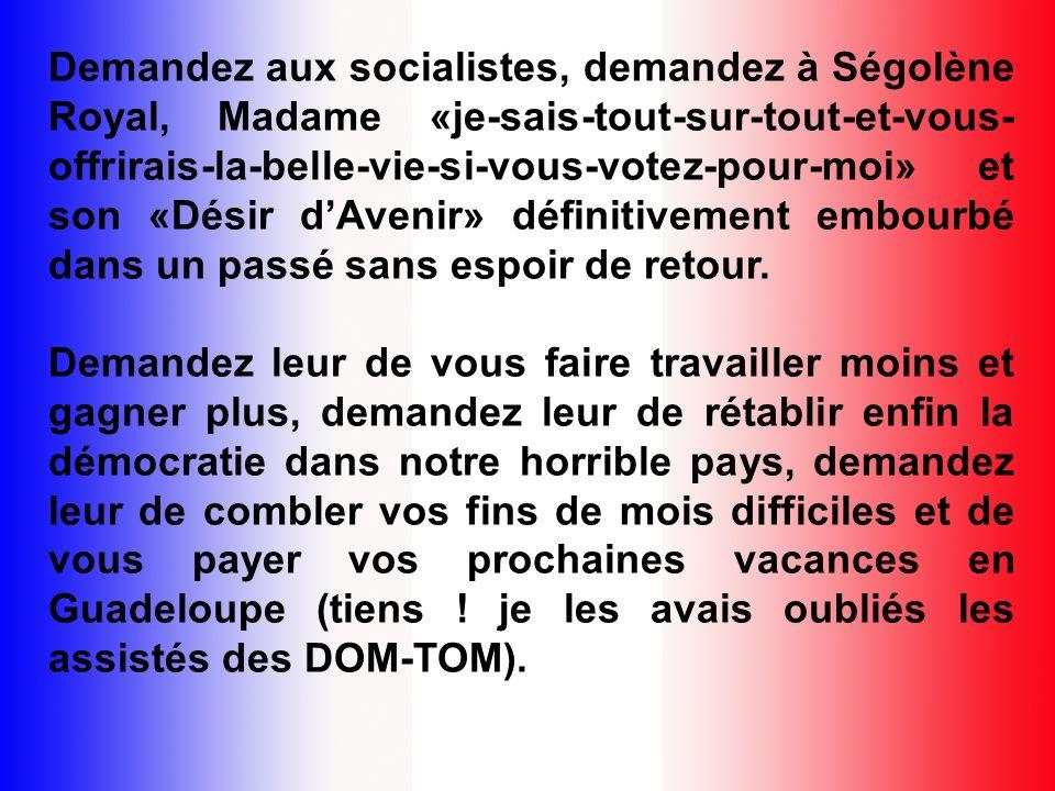 Demandez aux socialistes, demandez à Ségolène Royal, Madame «je-sais-tout-sur-tout-et-vous- offrirais-la-belle-vie-si-vous-votez-pour-moi» et son «Désir dAvenir» définitivement embourbé dans un passé sans espoir de retour.
