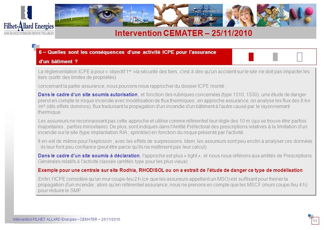 11 Intervention FILHET ALLARD Energies – CEMATER – 25/11/2010 La réglementation ICPE à pour « objectif 1 er »la sécurité des tiers, c est à dire qu un accident sur le site ne doit pas impacter les tiers (sortir des limites de propriétés).