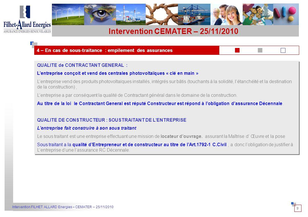 10 Intervention FILHET ALLARD Energies – CEMATER – 25/11/2010 5 – Lassurance décennale est-elle requise pour les centrales en surimposition ou en intégré simplifié .