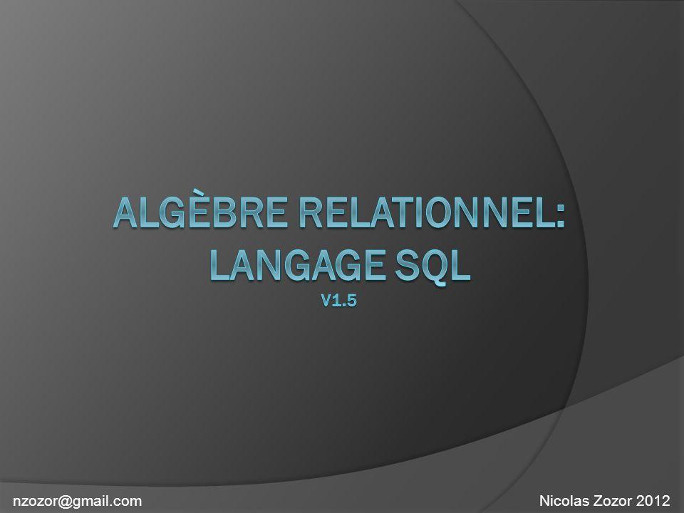 ORDER BY ASC ordre croissant DESC: ordre décroissant R1 = SELECT LibArt FROM ARTICLES ORDER BY LibArt ASC Sélectionne tous les libellés de la table ARTICLE et tri par ordre alphabétique EXEMPLE 1