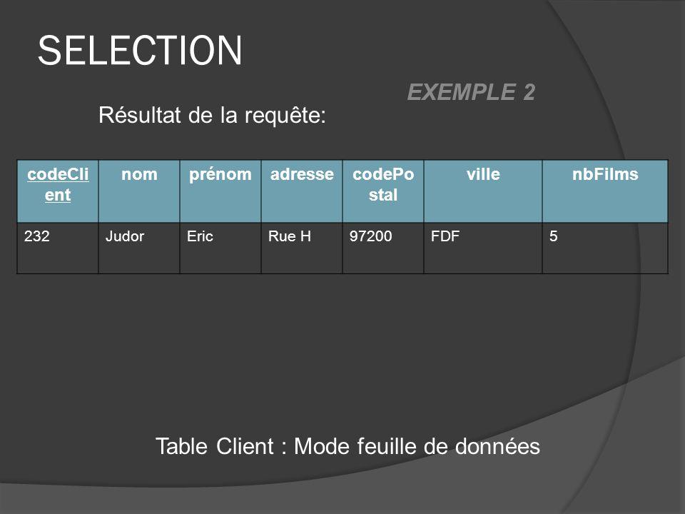 SELECTION Table Client : Mode feuille de données Résultat de la requête: codeCli ent nomprénomadressecodePo stal villenbFilms 232JudorEricRue H97200FD