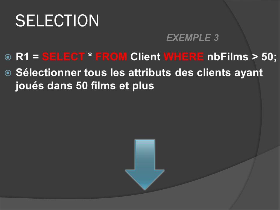 SELECTION R1 = SELECT * FROM Client WHERE nbFilms > 50; Sélectionner tous les attributs des clients ayant joués dans 50 films et plus EXEMPLE 3
