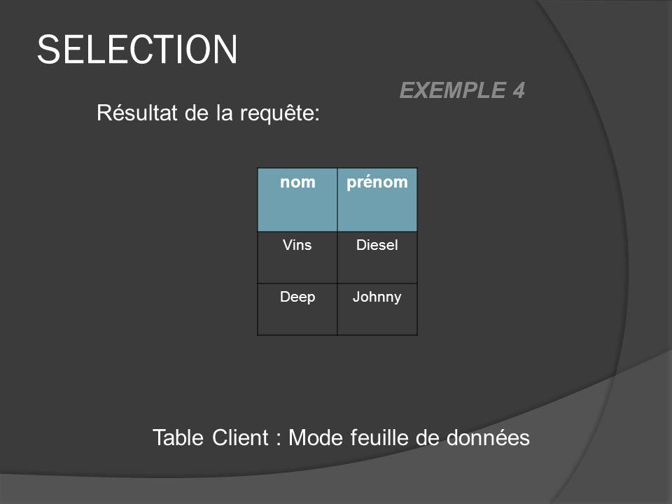 SELECTION Table Client : Mode feuille de données Résultat de la requête: nomprénom VinsDiesel DeepJohnny EXEMPLE 4