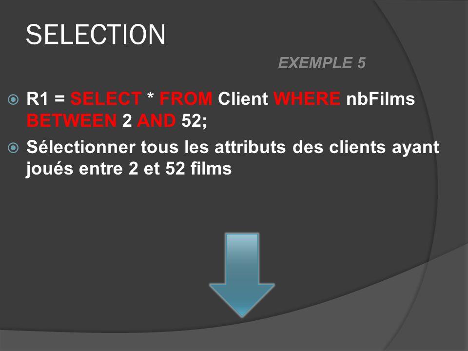 SELECTION R1 = SELECT * FROM Client WHERE nbFilms BETWEEN 2 AND 52; Sélectionner tous les attributs des clients ayant joués entre 2 et 52 films EXEMPL