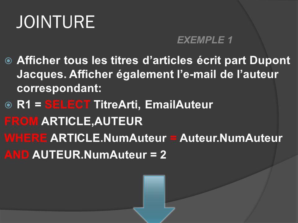 JOINTURE Afficher tous les titres darticles écrit part Dupont Jacques. Afficher également le-mail de lauteur correspondant: R1 = SELECT TitreArti, Ema