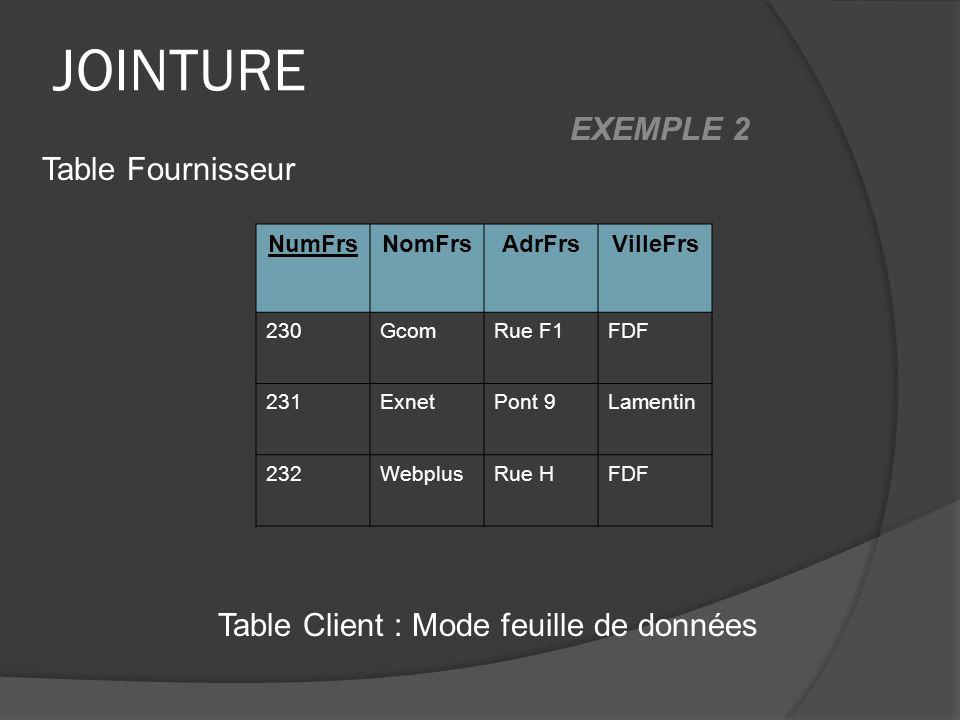 JOINTURE NumFrsNomFrsAdrFrsVilleFrs 230GcomRue F1FDF 231ExnetPont 9Lamentin 232WebplusRue HFDF Table Client : Mode feuille de données Table Fournisseur EXEMPLE 2