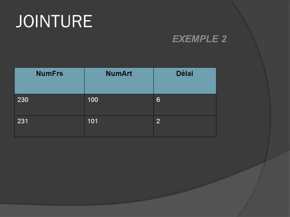 JOINTURE NumFrsNumArtDélai 2301006 2311012 EXEMPLE 2