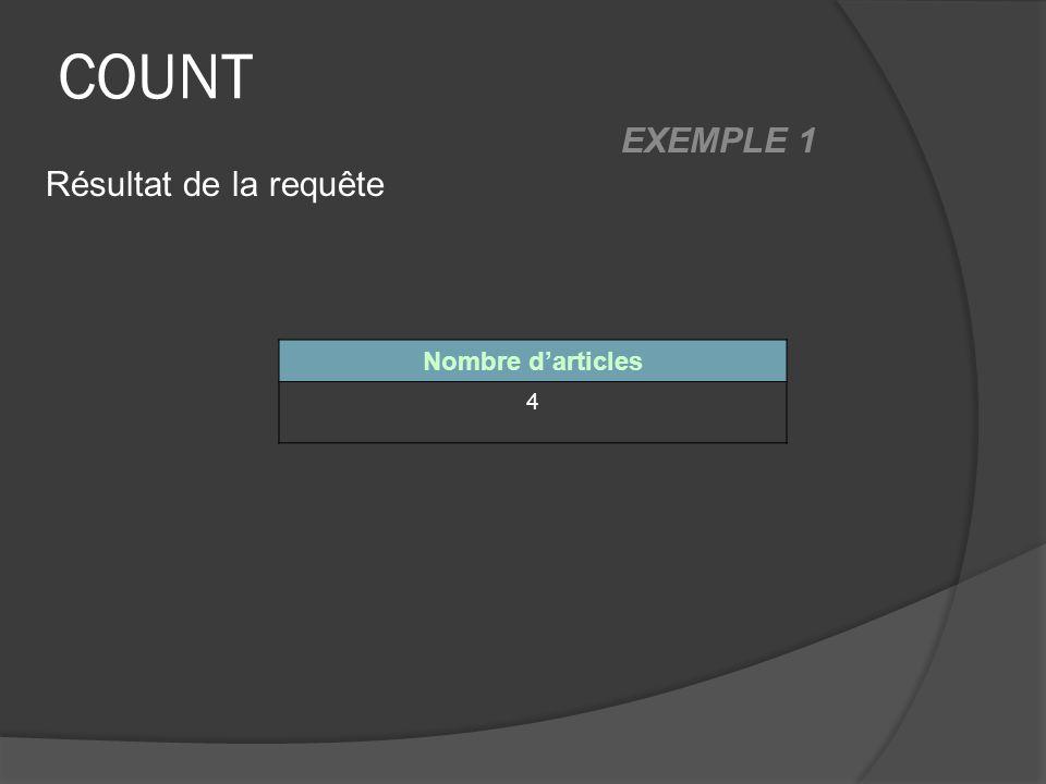 COUNT Nombre darticles 4 Résultat de la requête EXEMPLE 1