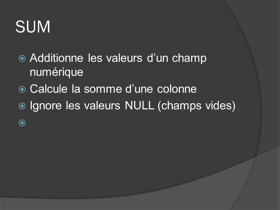 SUM Additionne les valeurs dun champ numérique Calcule la somme dune colonne Ignore les valeurs NULL (champs vides)