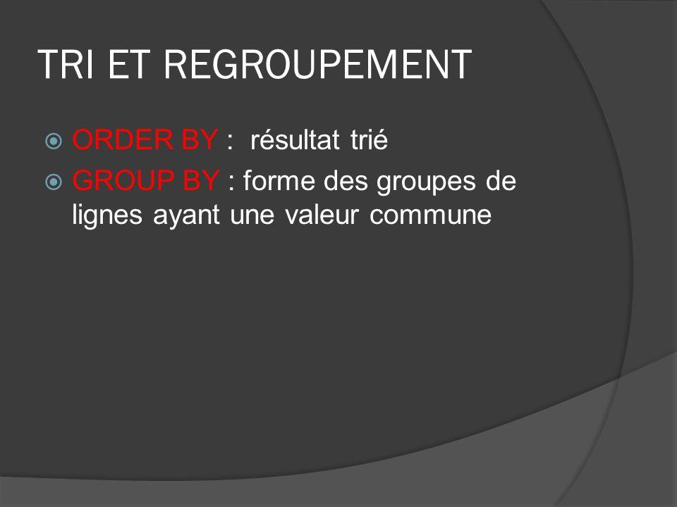 TRI ET REGROUPEMENT ORDER BY : résultat trié GROUP BY : forme des groupes de lignes ayant une valeur commune