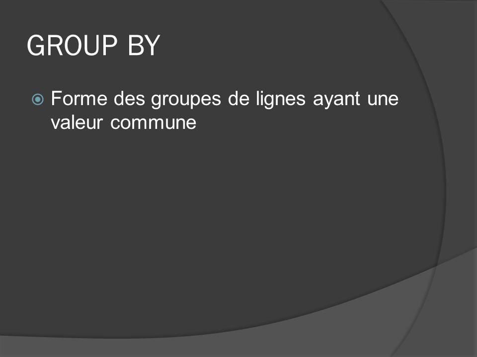 GROUP BY Forme des groupes de lignes ayant une valeur commune