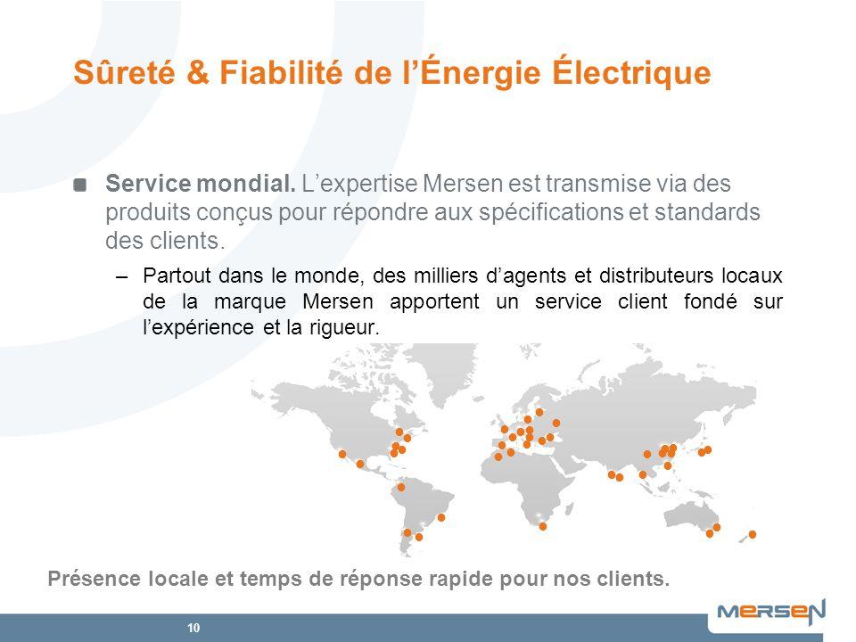 10 Service mondial. Lexpertise Mersen est transmise via des produits conçus pour répondre aux spécifications et standards des clients. –Partout dans l