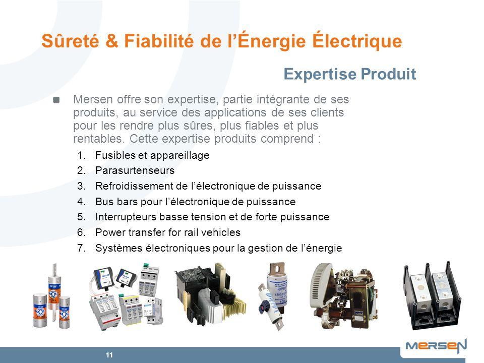11 Expertise Produit Sûreté & Fiabilité de lÉnergie Électrique Mersen offre son expertise, partie intégrante de ses produits, au service des applicati