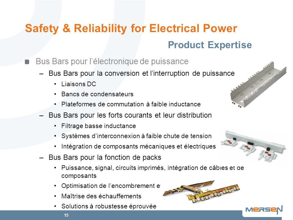 15 Safety & Reliability for Electrical Power Product Expertise Bus Bars pour lélectronique de puissance –Bus Bars pour la conversion et linterruption