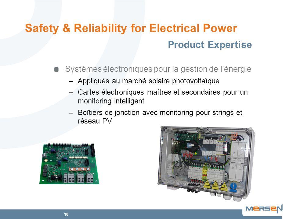 18 Systèmes électroniques pour la gestion de lénergie –Appliqués au marché solaire photovoltaïque –Cartes électroniques maîtres et secondaires pour un