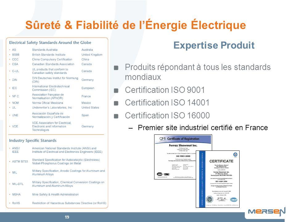 19 Produits répondant à tous les standards mondiaux Certification ISO 9001 Certification ISO 14001 Certification ISO 16000 –Premier site industriel ce