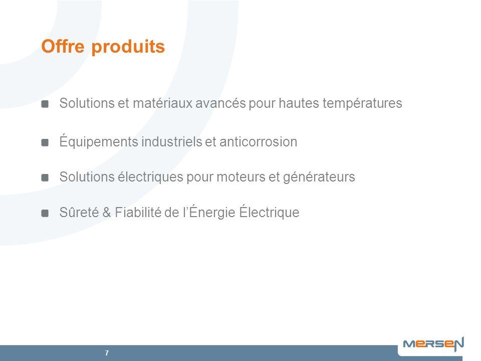 7 Offre produits Solutions et matériaux avancés pour hautes températures Équipements industriels et anticorrosion Solutions électriques pour moteurs e