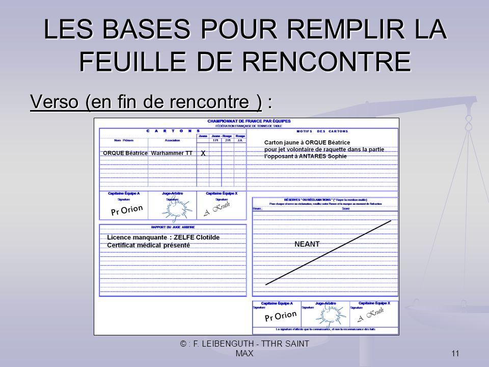 © : F. LEIBENGUTH - TTHR SAINT MAX11 Verso (en fin de rencontre ) : LES BASES POUR REMPLIR LA FEUILLE DE RENCONTRE