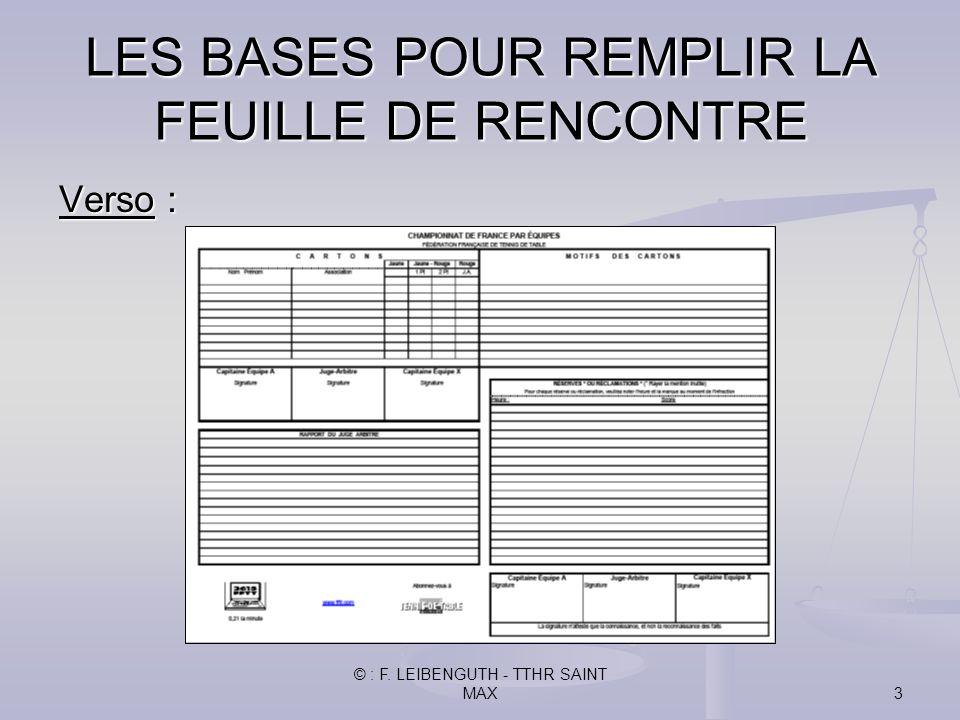 © : F. LEIBENGUTH - TTHR SAINT MAX3 Verso : LES BASES POUR REMPLIR LA FEUILLE DE RENCONTRE