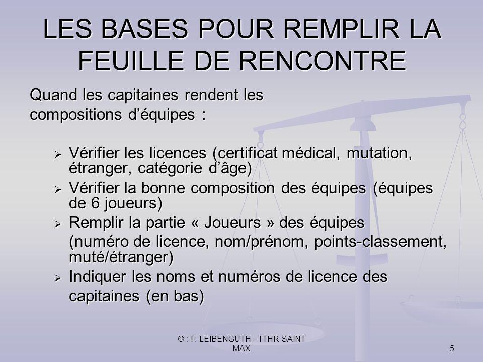 © : F. LEIBENGUTH - TTHR SAINT MAX5 Quand les capitaines rendent les compositions déquipes : Vérifier les licences (certificat médical, mutation, étra