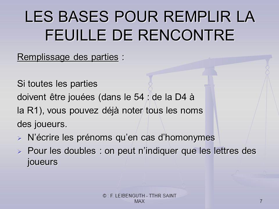 © : F. LEIBENGUTH - TTHR SAINT MAX7 Remplissage des parties : Si toutes les parties doivent être jouées (dans le 54 : de la D4 à la R1), vous pouvez d