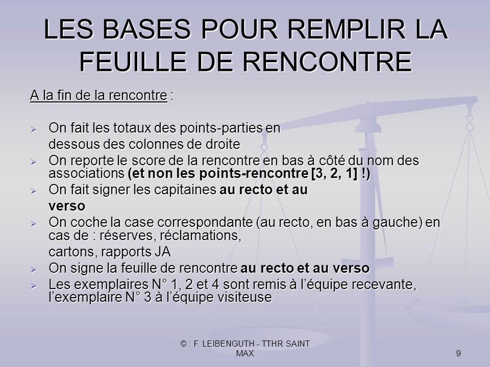 © : F. LEIBENGUTH - TTHR SAINT MAX9 A la fin de la rencontre : On fait les totaux des points-parties en On fait les totaux des points-parties en desso