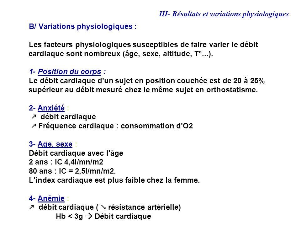 B/ Variations physiologiques : Les facteurs physiologiques susceptibles de faire varier le débit cardiaque sont nombreux (âge, sexe, altitude, T°...).
