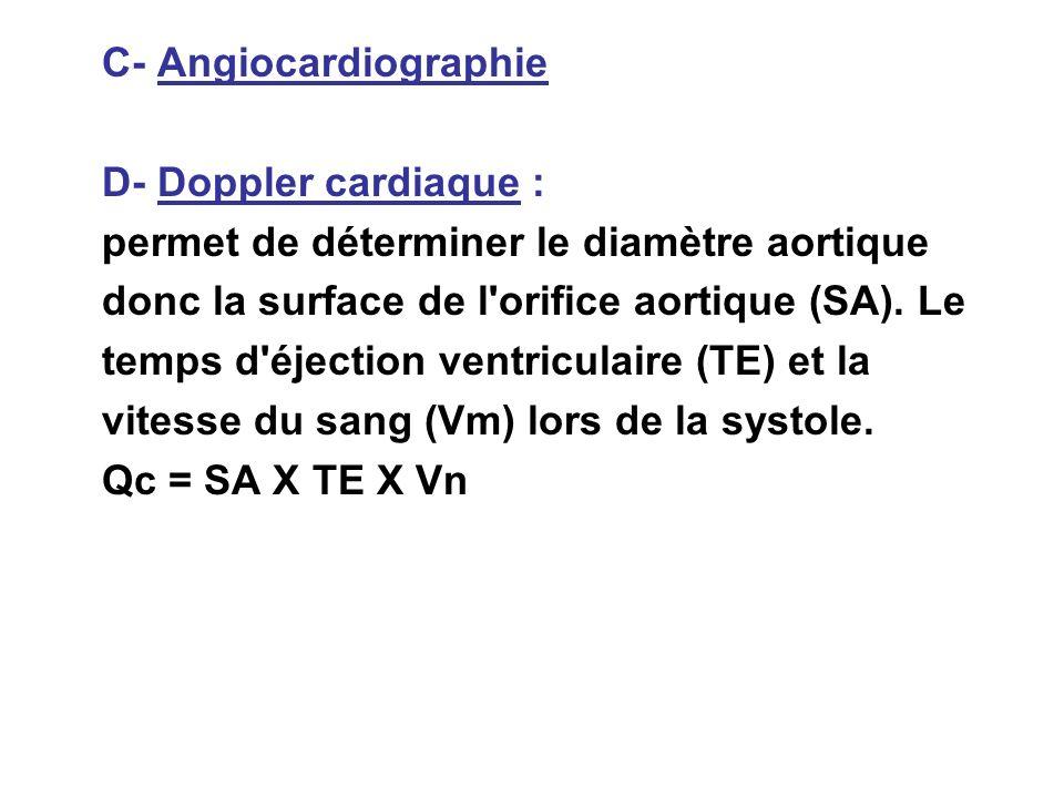 C- Angiocardiographie D- Doppler cardiaque : permet de déterminer le diamètre aortique donc la surface de l'orifice aortique (SA). Le temps d'éjection