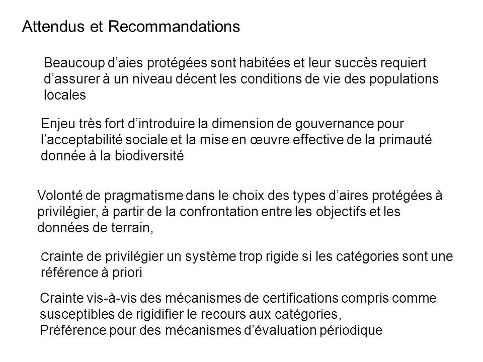 Attendus et Recommandations Enjeu très fort dintroduire la dimension de gouvernance pour lacceptabilité sociale et la mise en œuvre effective de la pr