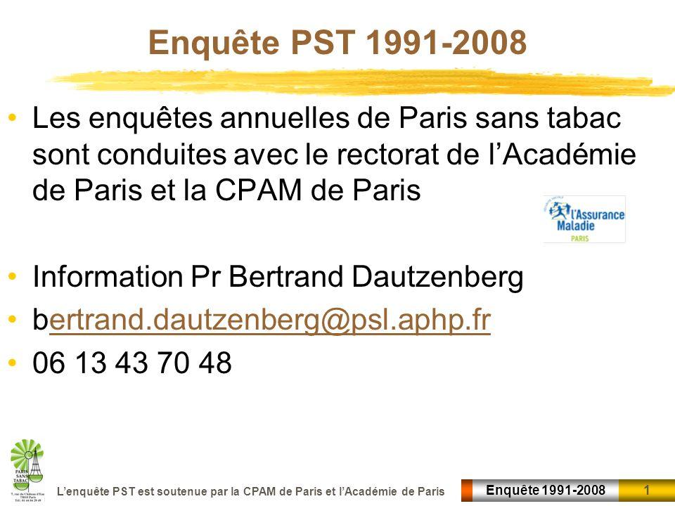 1 1Enquête 1991-2008 Lenquête PST est soutenue par la CPAM de Paris et lAcadémie de Paris Enquête PST 1991-2008 Les enquêtes annuelles de Paris sans t