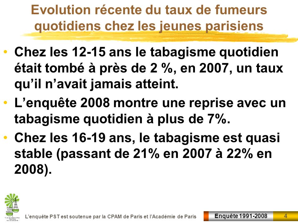 4 4Enquête 1991-2008 Lenquête PST est soutenue par la CPAM de Paris et lAcadémie de Paris Evolution récente du taux de fumeurs quotidiens chez les jeu
